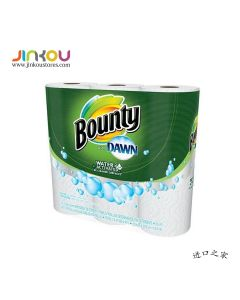 Bounty Paper Towels With Dawn Water Activated 3 Rolls 邦迪经典单层白色厨房用纸 3卷