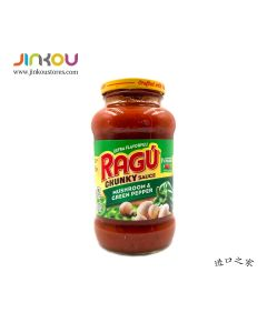 Ragu Chunky Sauce Mushroom & Green Pepper 24 OZ (680g) 乐鲜双重蘑菇绿辣椒风味意粉调味酱