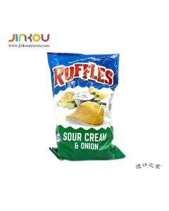 Ruffles Sour Cream & Onion Flavored Potato Chips 6.5 OZ (184.2g) 如福司土豆片 (洋葱,酸奶油味)